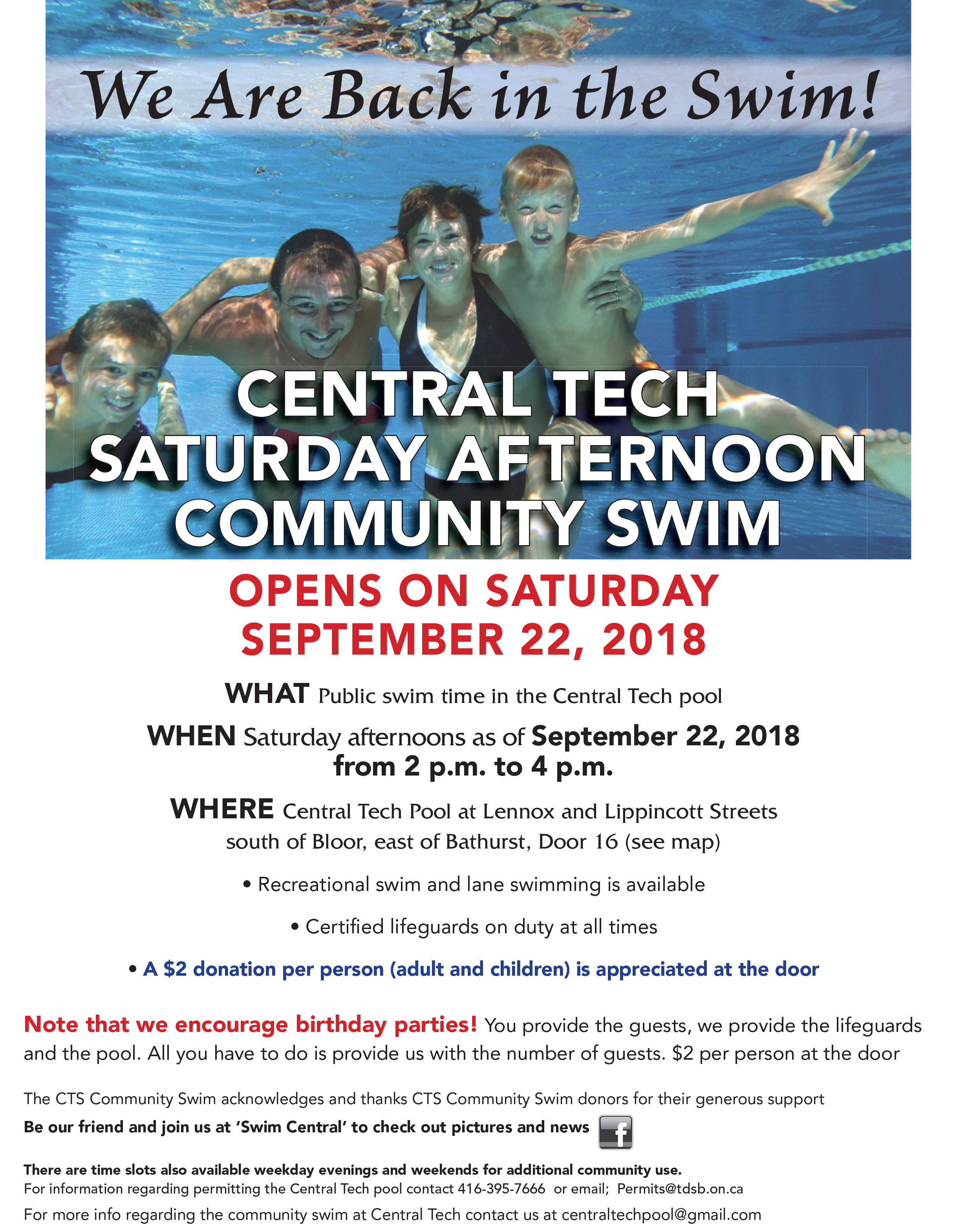 Central Tech Community Swim Starts Saturday September 22 2 4 Pm